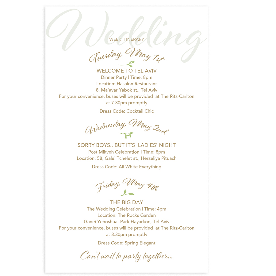 graphic design for a wedding program by mili and sara